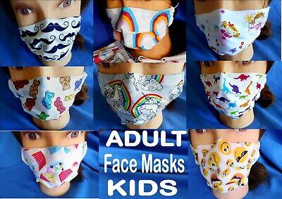 KIDS &ADULTS Funny FACE MASK filter pocket nose fitting washable reuseable  UK