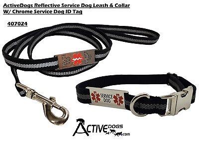 Activedogs Reflective Service Dog 5' Leash & Collar W/Chrome Service Dog ID Tag Dog Leash Id Tag