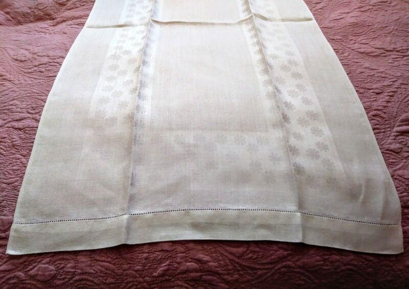 "Gorgeous Snowflake / Flower Design Hemstitched Damask Linen Show Towel 44.5""x23"""