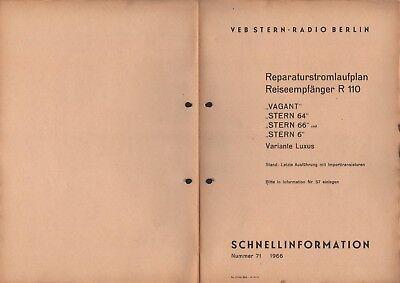 BERLIN, Prospekt 1966, VEB Stern-Radio Berlin Schnellinfo Reiseempfänger R 110