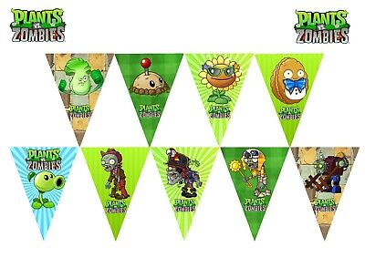 1x Plants Vs Zombies Banner Bunting Flag. Party Supplies Room Deco Lolly Bag - Plants Vs Zombies Party Decorations