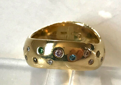 ETIENNE PERRET DESIGNER 18K GOLD MULTI COLORED TWIST BAND DIAMOND RING SZ 7.5