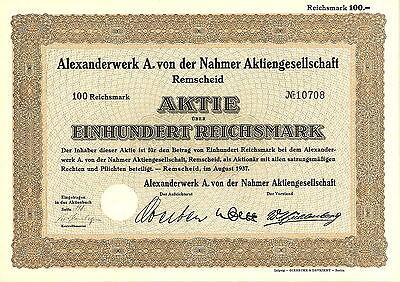 Alexanderwerk A. von der Nahmer AG 100 RM 1937 Remscheid
