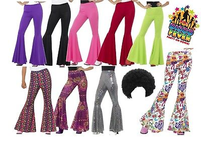 Ladies 1960s 1970s Flares Adult Disco Trousers Hippie Fancy Dress Black Afro - 1960 Disco Kostüm