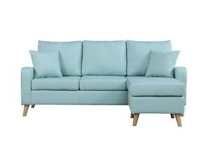 Modern Furniture Small Space Sectional Sofa Reversible Chaise In Light Blue