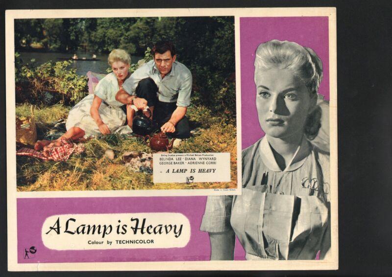 Lamp is Heavy Lobby Card-Belinda Lee having tea outside with George Baker.
