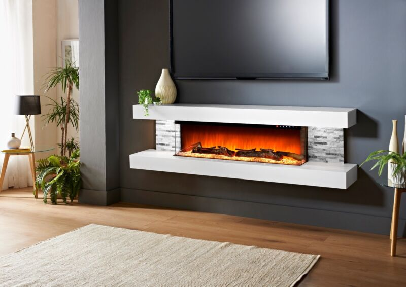 Floating Led Electric Fireplace 72'' & Remote Control With Logs And Crystals