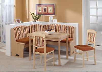 Eckbankgruppe Kreta 4 teilig Buche Dekor Tischgruppe Eckbank Stühle Tisch Set (Dekor-tisch Wohnzimmer)