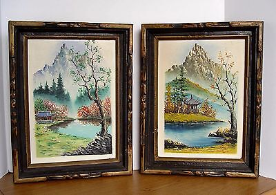 SET of 2 Vintage Framed Asian Theme Mountains LANDSCAPE Original Oil Paintings