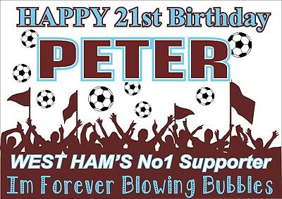 Birthday Poster Birthday Banner | West Ham | Personalised Name | Sign | TP217