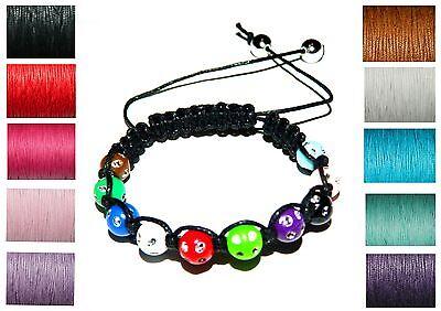 Diamante Beads Cord Braided Friendship Bracelet Making Kit Instructions Macrame - Macrame Bracelet Instructions