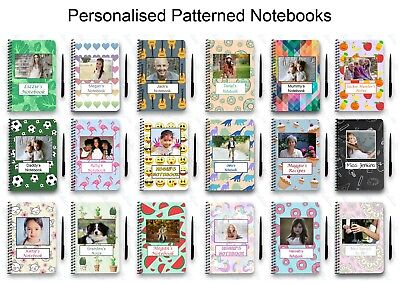 PERSONALISED NOTEBOOK A5 WIRE BOUND GIFT NOTE PAD PICTURE IMAGE TEXT PATTERN FUN