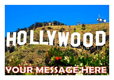 HOLLYWOOD SIGN  BIRTHDAY  CAKE TOPPER A4  EDIBLE ICED/ ICING   - Personalised Hollywood Sign