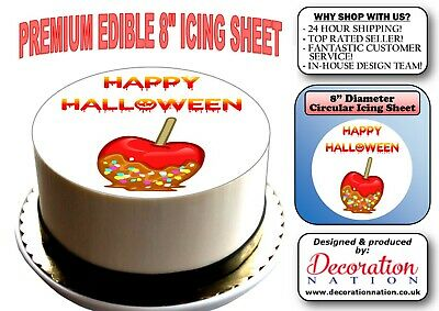 Halloween Toffee Apple Cake (Happy Halloween - Toffee Apple 8 INCH ICING Edible Cake Topper Decoration)