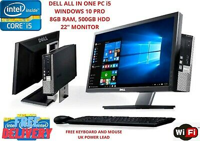 """Computer Games - Dell PC Computer All in One Core i5 22"""" Monitor 8GB Ram 500GB HDD windows10 WiFi"""