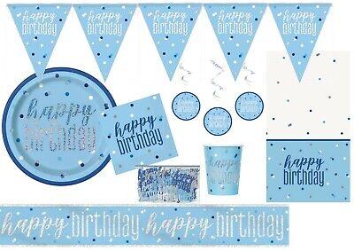 Birthday Party Decoration Ideas (BLUE Sparkles Sparkling Happy Birthday Tableware Supplies Decorations Ideas)