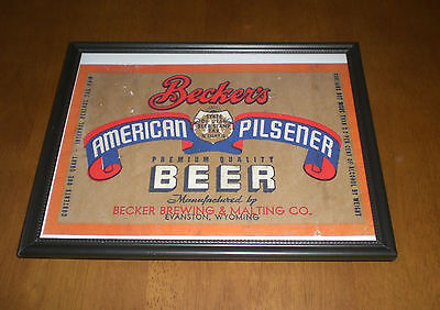 BECKERS AMERICAN PILSENER BEER FRAMED COLOR AD PRINT - BECKER BREWING CO. - WY