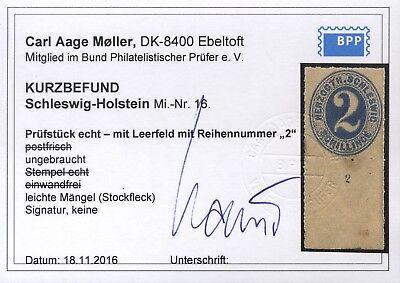 AD Schleswig Holstein Mi. 16*Leerfeld sehr selten, Fotobefund BPP