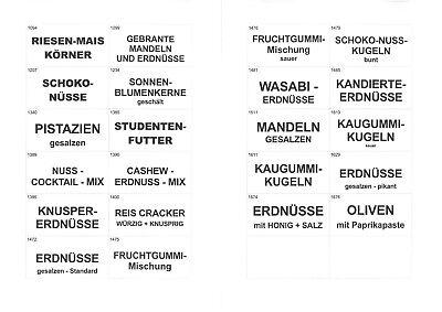 Druckvorlage Schilder für Sally/Expe 9 - Warenautomat - Kaugummi, Oliven, Nüsse