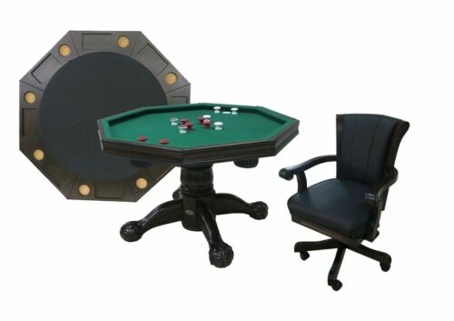 """48"""" - 3 in 1 GAME TABLE with 4 CHAIR SET: BUMPER POOL, CARDS & DINING ~ESPRESSO"""
