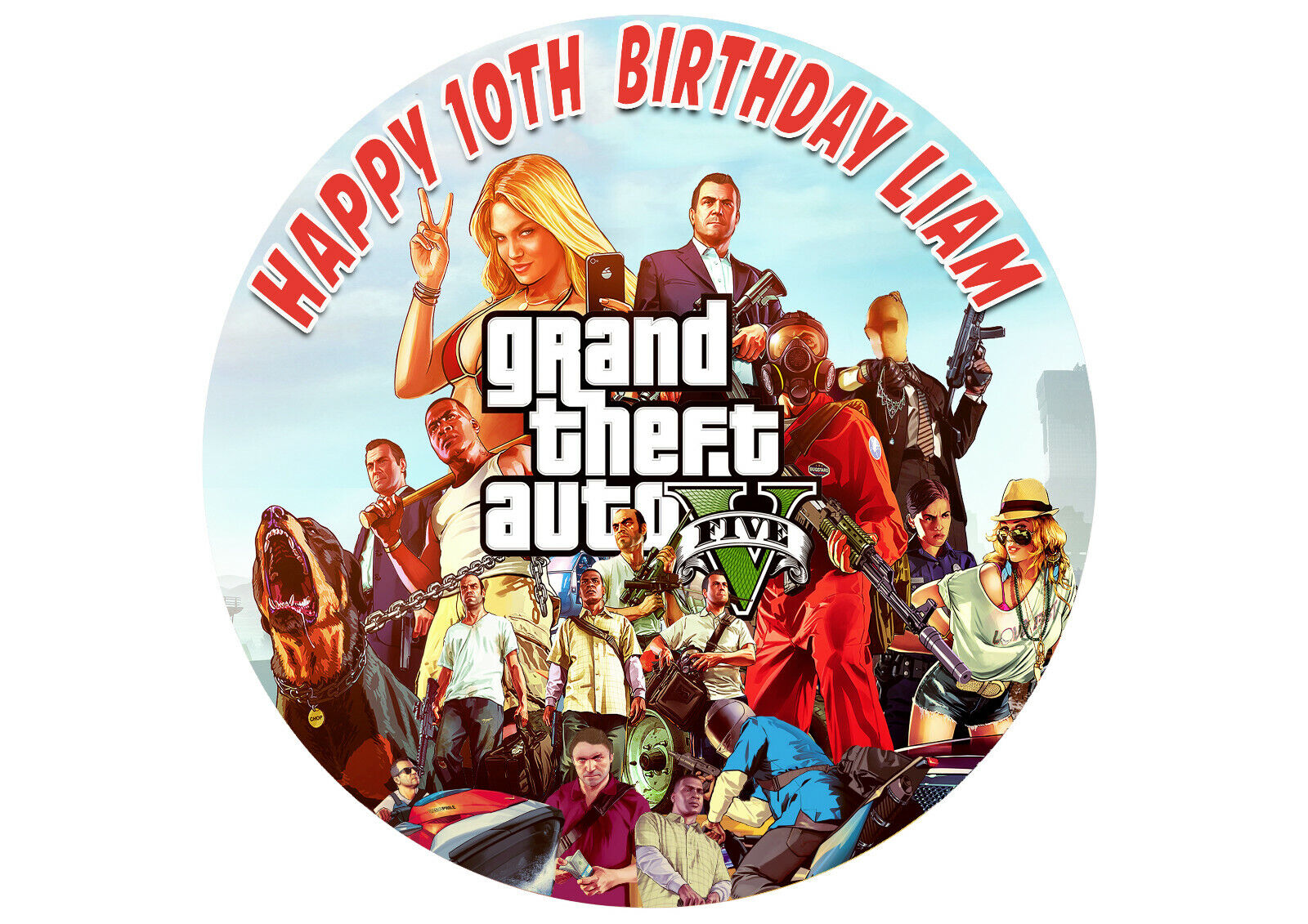 Computer Games - GTA Grand theft Auto 5 computer game birthday Party Cake Decoration icing sheet