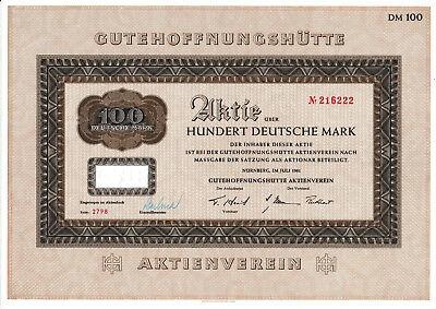 Lot 2 G H H Gutehoffnungshütte Nürnberg Oberhausen DM Aktien 1961 GHH Haniel MAN