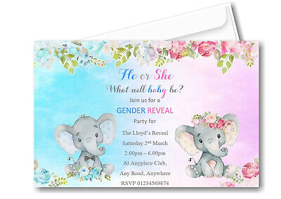 30 Personalised Baby Gender Reveal Party Invitations ~ Invites Baby Shower BR1](Gender Reveal Baby Shower Invitations)