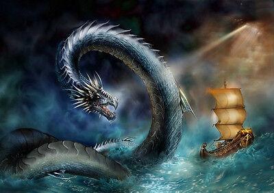 Water Dragon Home Decor Canvas Print A4 Size (210 x 297mm)