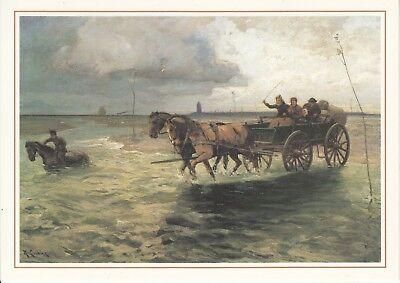 Künstler Postkarte - Wattenpost zwischen Duhnen und Insel Neuwerk um 1905