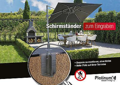 Luxus Platinum Bodenhülse Bodenanker für Sonnenschirm oder Ampelschirm Schirm