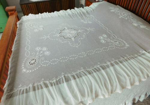 Vintage Antique French Tambour Embroidered 96x90 Netting Lace Bedspread Coverlet