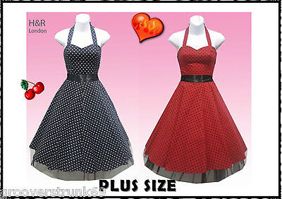 H & R London Red or Black Small Dot Dress PLUS SIZE Rockabilly Vintage Pinup