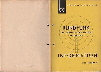 BERLIN, Prospekt 1962, VEB Stern-Radio Berlin Typ Bernau und Nauen mit KW-Lupe