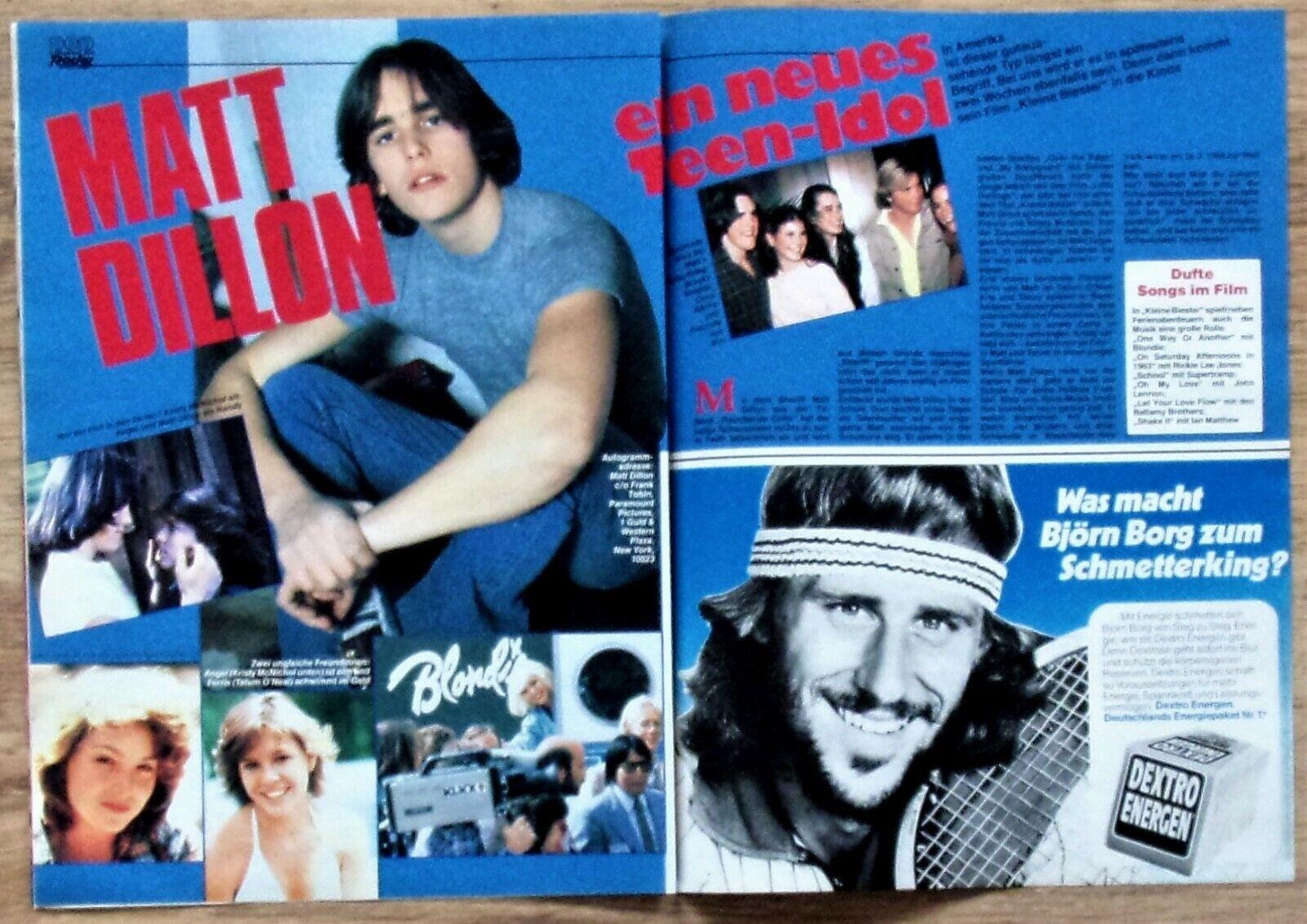 MATT DILLON - Bericht - Teen-Idol 80er Jahre rare 80s clipping SAUBER ENTNOMMEN!