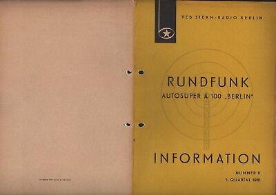 BERLIN, Prospekt 1961, VEB Stern-Radio Berlin Autosuper A 100