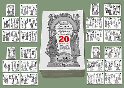20 Sammlungen 1 bis 14 + 22 - 27 Schnittmuster MITTELALTER Historische Kostüme