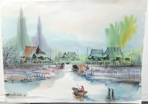 UDOMRAKI OLD VIETNAM FISHERMAN VILLAGE WATERCOLOR LANDSCAPE PAINTING