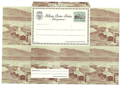 MINERALS- CHEMISTRY:   CABO VERDE Aerogramme 2$00TownHall/ SALT mining/1963/mint