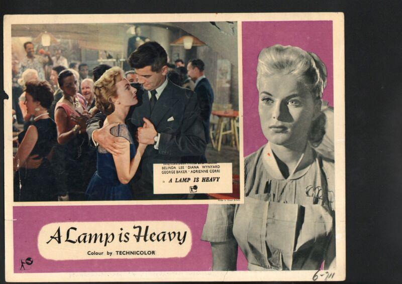 Lamp is Heavy Lobby Card-Belinda Lee being held by George Baker.