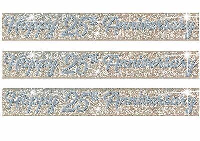 Bodas de Plata Banner de Decoración de Fiesta 25th Aniversario Guirnalda