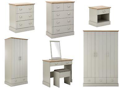 Kendal Grey & Oak Country Style Bedroom Furniture - Bedside, Chests, Wardrobes