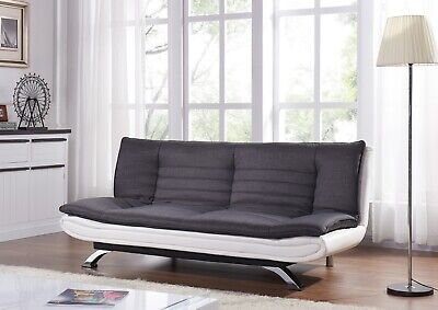 3 Seater Sofa Bed Charcoal Fabric Faux Leather Base Sofa Bed Bedroom Furniture