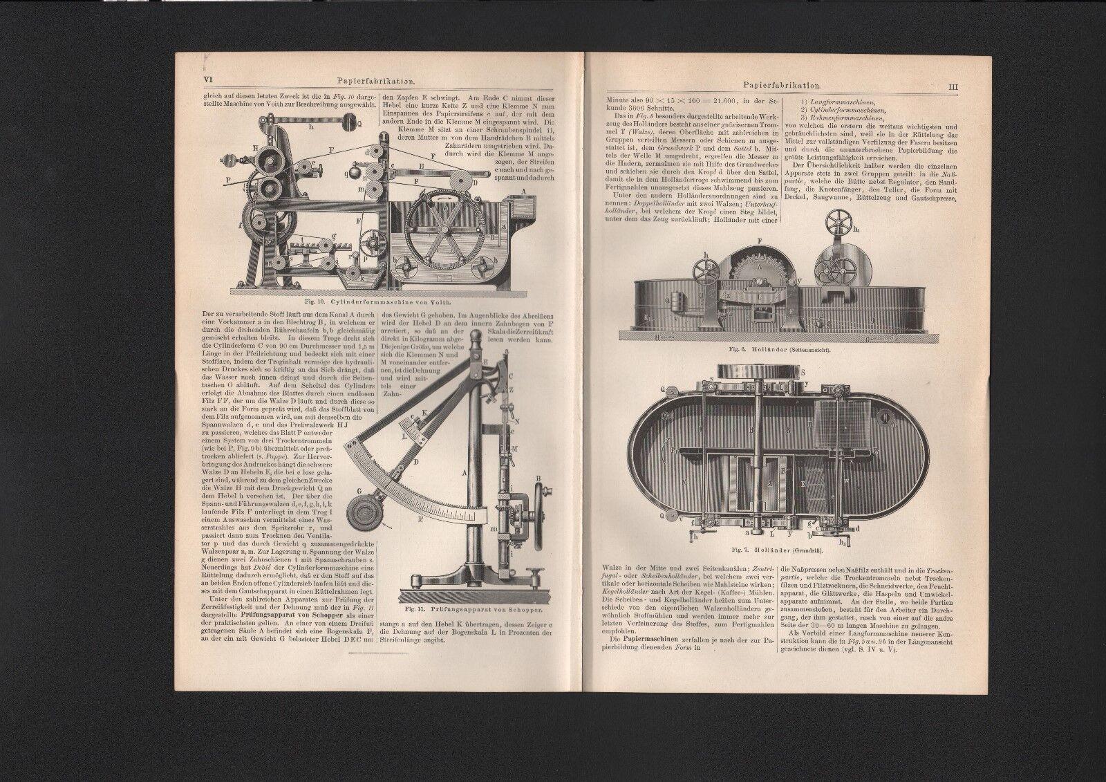 Lithografie Druck 1897: PAPIERFABRIKATION. PAPIER Fabrik Maschinen Technik