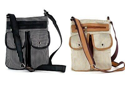 Gestreifte Damen Handtasche (Handtasche Damen Umhängetasche Schultertasche gestreift schwarz braun)