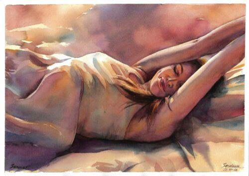 original drawing A3 202SA art by samovar woman nude girl watercolor Signed 2020