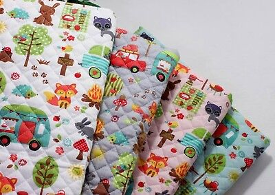 Camping animals Cotton Blend Ready quilted Fabric Pre-quilted padded Fox JQ45*](Quick Animal Costumes)
