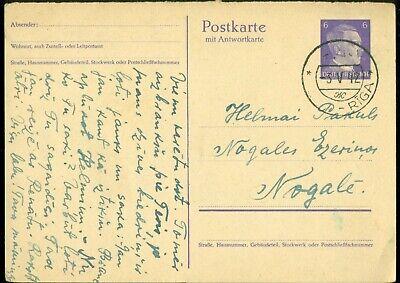 LATVIA OSTLAND POSTKARTE MIT ANTWORTKARTE GERMAN OCC. SOVIET PMK RIGA-ж 3.V.1942