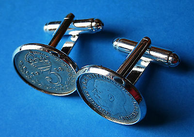 Pair Genuine High Quality Antique .925 Silver Threepence  Cufflinks