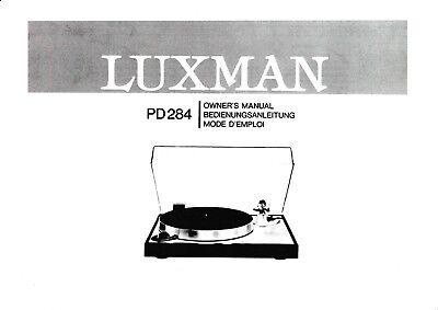 Owner's Manual-Anleitung für Luxman PD-284
