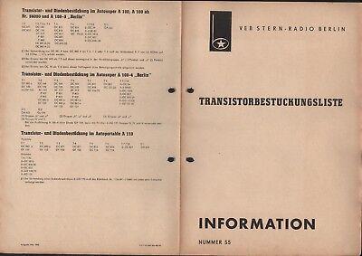 BERLIN, Prospekt 1965, VEB Stern-Radio Berlin Transistorbestückungsliste